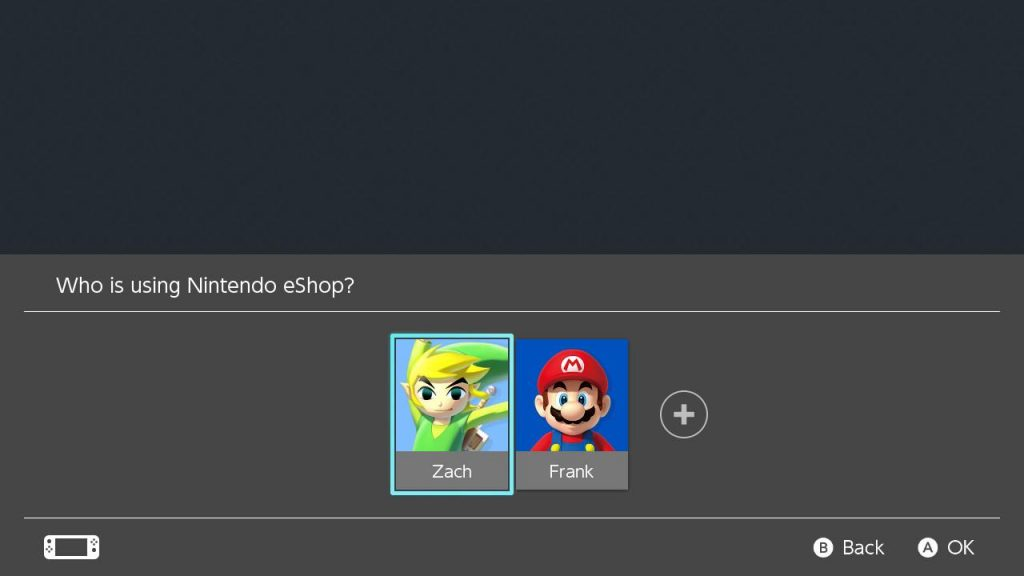 Photo showing nintendo e-shop and option to choose my account or dad's account.