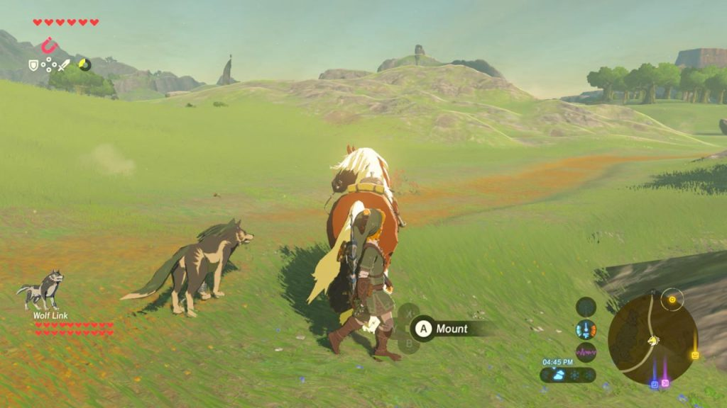 A photo of wolf link accompanying link and his horse.