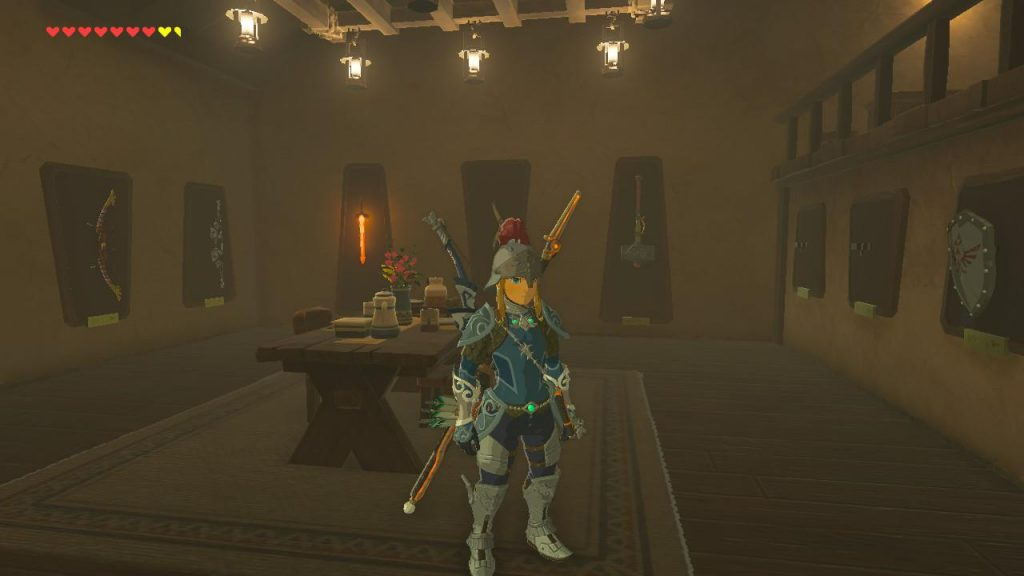 A shot of the interior of my dad's house in BoTW. A few decorations line the walls, while some decoration areas are empty.